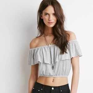 Forever 21 Black and White Striped Crop Top  L